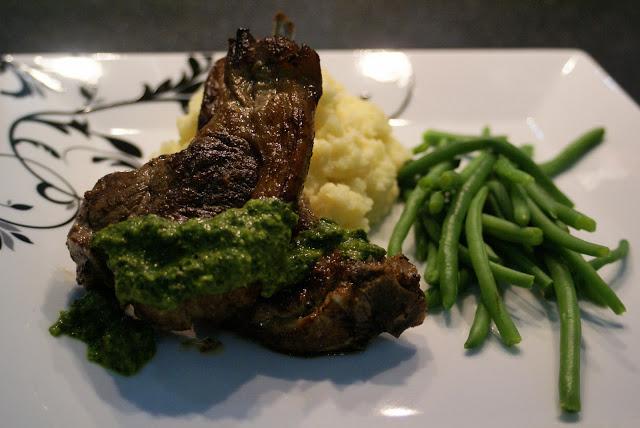 Lamb chops with salsa verde & parsnip mash (Paleo)