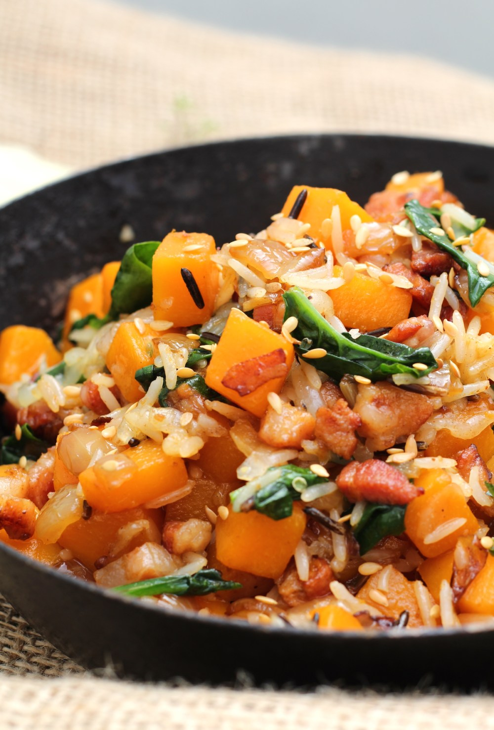Pancetta, butternut & wild rice skillet
