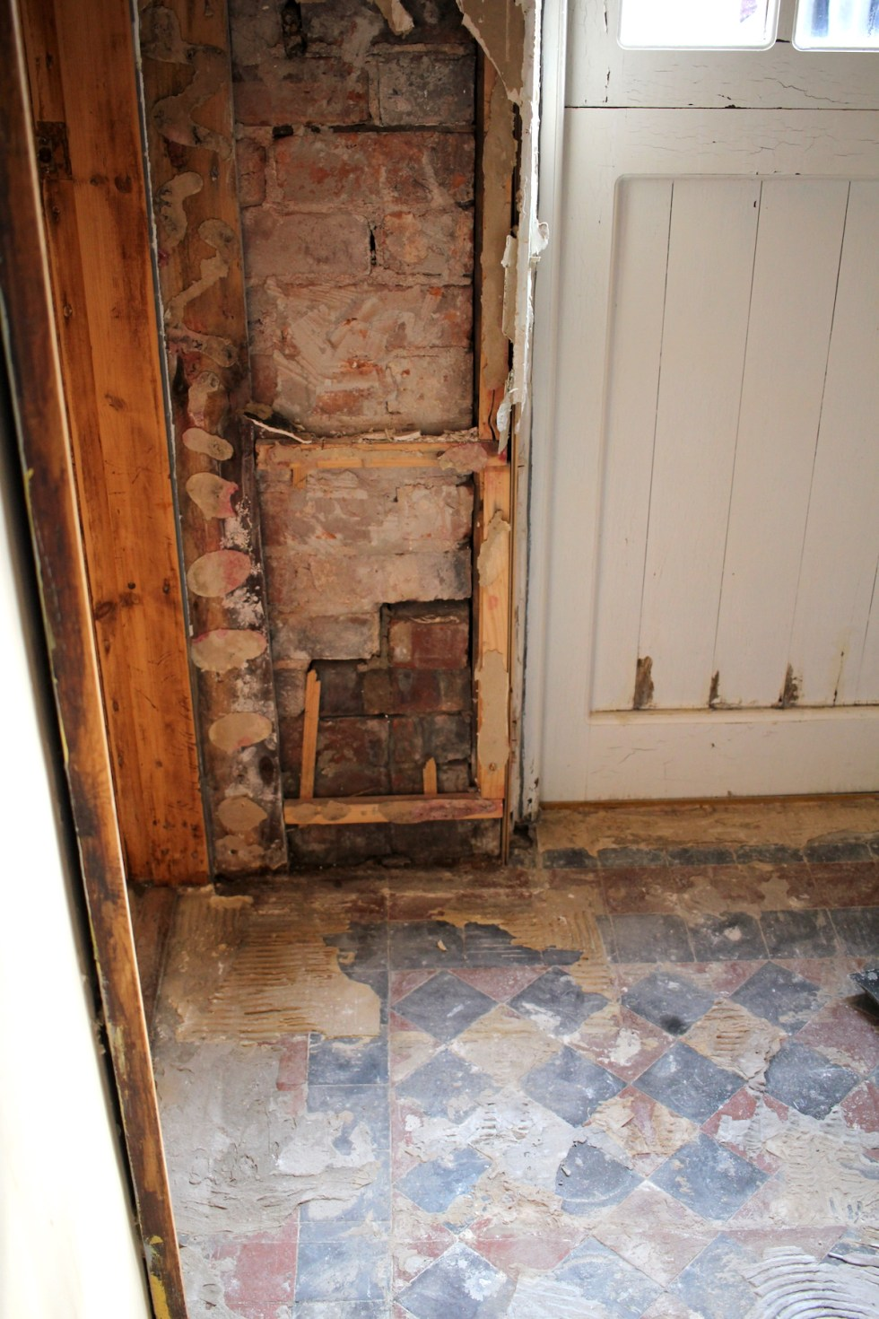 old stud wall in kitchen