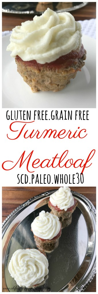 Using the spices turmeric and ginger, this meatloaf gives a little anti-inflammatory boost to your system! A delicious main dish you can pair with your favorite sides. This Turmeric Meatloaf is gluten free and grain free. It is Paleo, Whole30 and SCD legal.