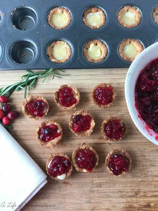 A festive and healthier holiday appetizer! These tartlets have a buttery almond flour crust which compliments the creamy brie cheese and tart cranberry sauce topping. They're free of gluten, grains and refined sugar. SCD legal.