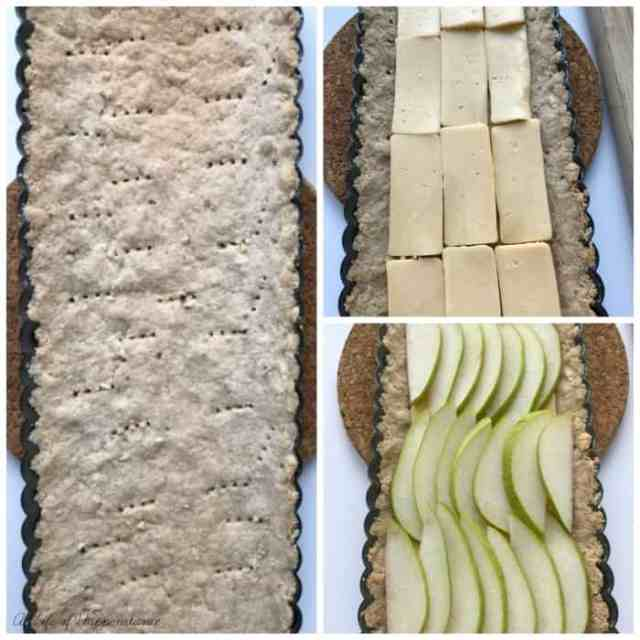 Three picture collage showing the pre-baked crust then filling it with cheese and pear slices.