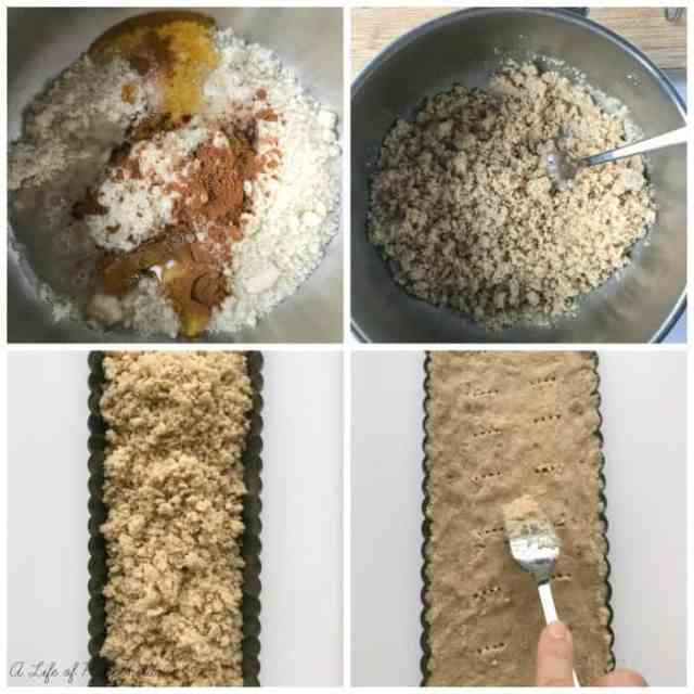 Four picture collage showing the process of making the almond flour crust.
