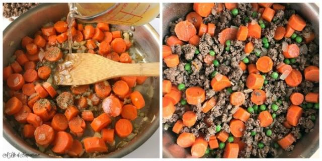 A two picture collage. First picture shows chicken stock being poured into a skillet with carrots and onions. Second picture shows the skillet with ground beef, carrots, peas and onions.