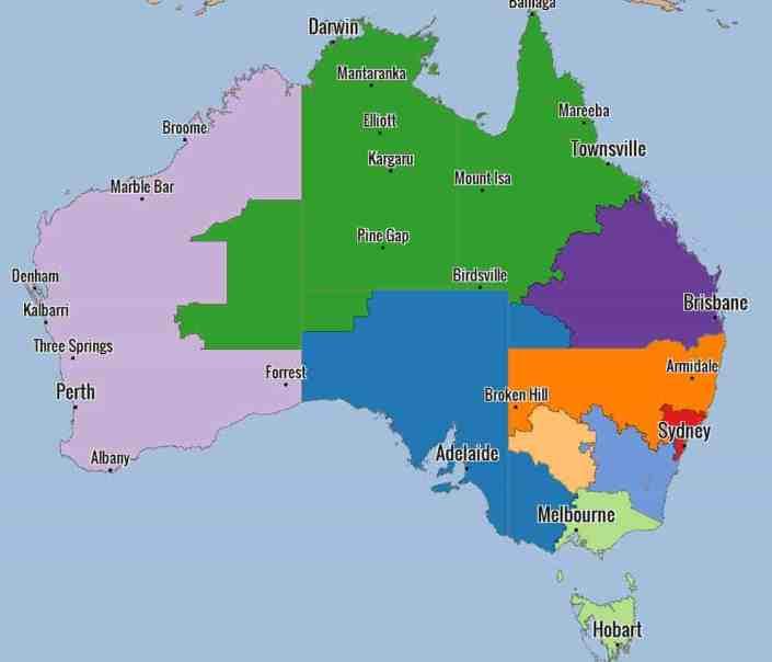 Sales Territories in Australia
