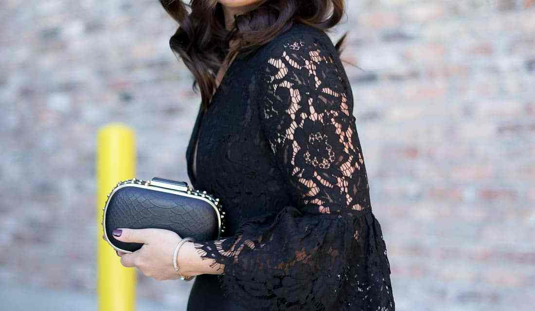 Holiday Style, Chicago Blogger, Lace Bell Sleeve Dress, New Years Eve Style