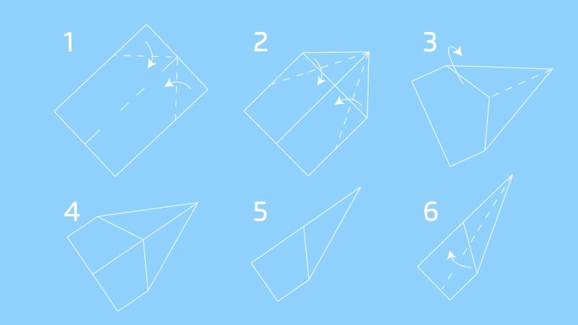 Instruções para fazer origami avião