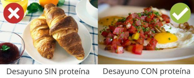 Desayuno con proteína vs desayuno sin proteína