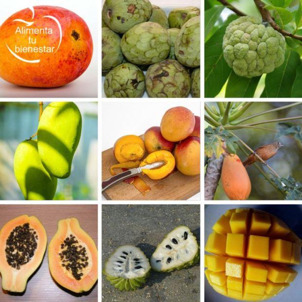 Frutas antioxidantes tropicales: papaya, mango y chirimoya