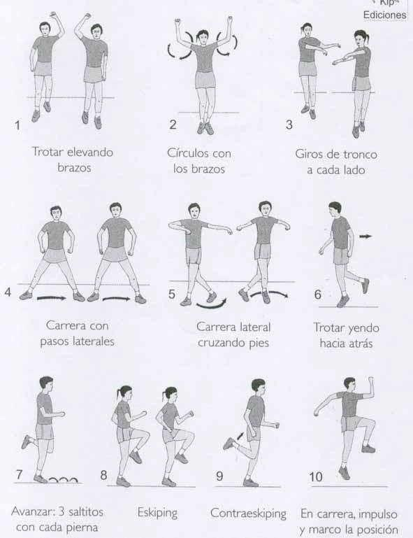 Dibujos ejercicios de calentamiento