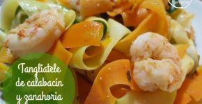 Cómo hacer tangliatele de calabacín y zanahoria con gambas