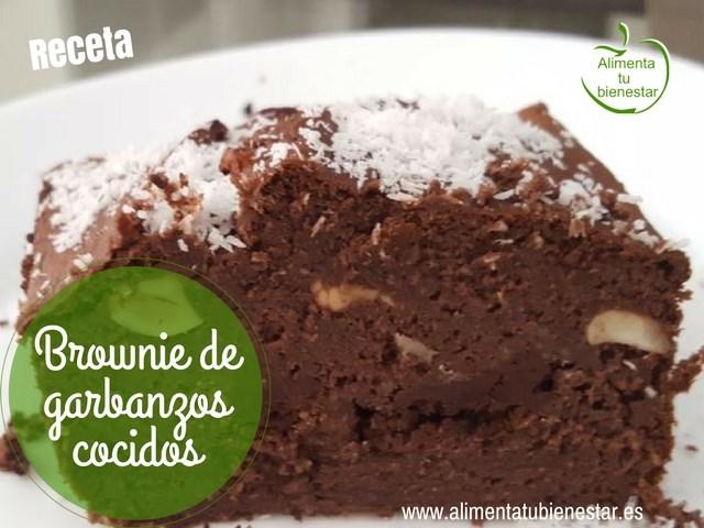 Brownie de garbanzos cocidos, sin azúcar ni edulcorantes