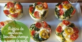 Muffins de espinacas, tomatitos cherrys y queso de oveja añejo