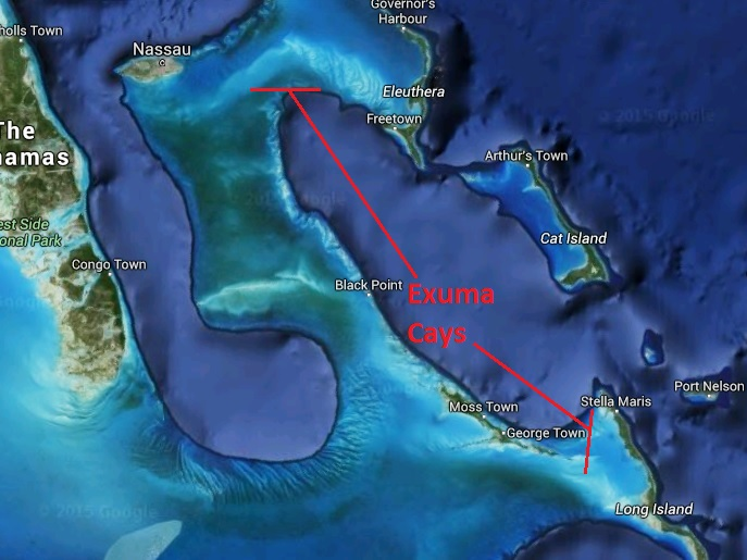 Between the two red lines are a chain of the Exuma Cays and Islands