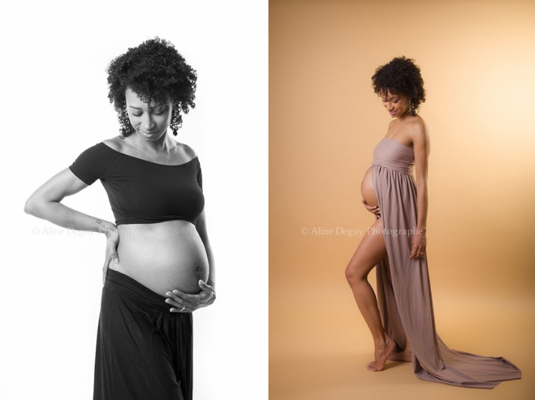 Photographe studio, Aline Deguy, Paris, Grossesse, Femme enceinte, métisse, 91, 92, 93, 94, 95, 77, 78