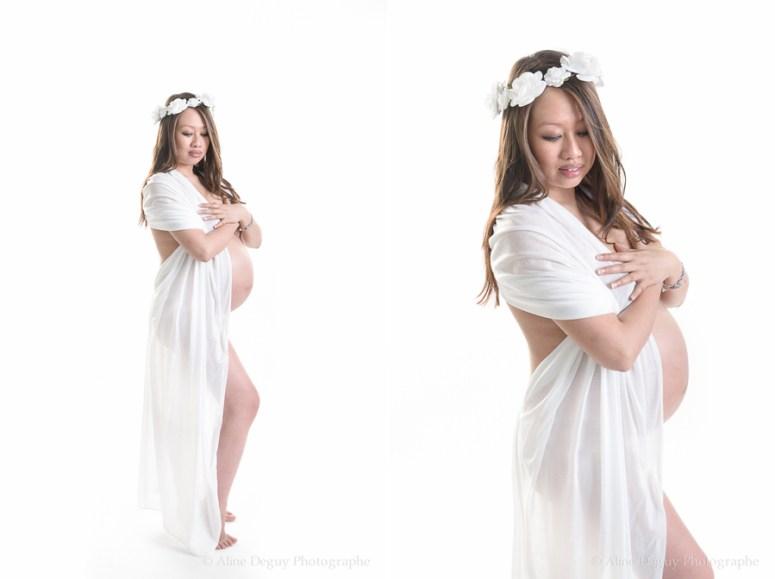 photo, femme enceinte, studio, blanc, robe, aline deguy, Paris