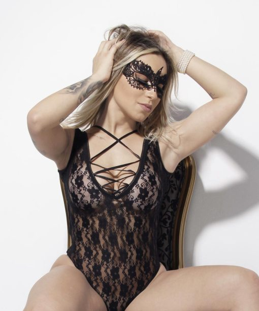 Body Doce Veneno com máscara Aline Lingerie