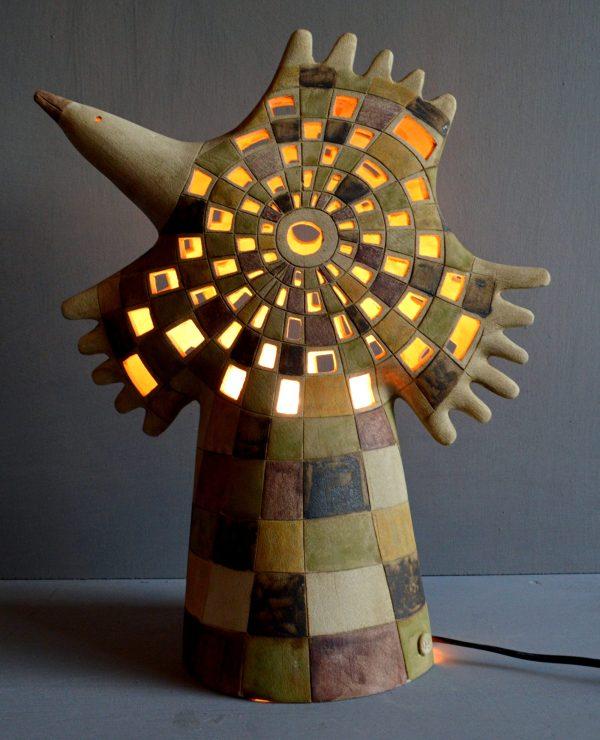Ceramic bird lamp lit