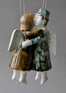 figurative-ceramics - 10a.On-the-wings-of-love.-faience.-h15