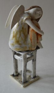 figurative-ceramics - 12l.Dreaming-Angel-2-faience-glazesh18