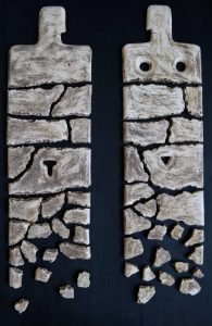 on-board - 2.From-the-series-Corsica.He-and-She-1.-chamotte-oxides.panno-ceramic-decorated-on-the-wood-board.two-parts-120x40-120x402013