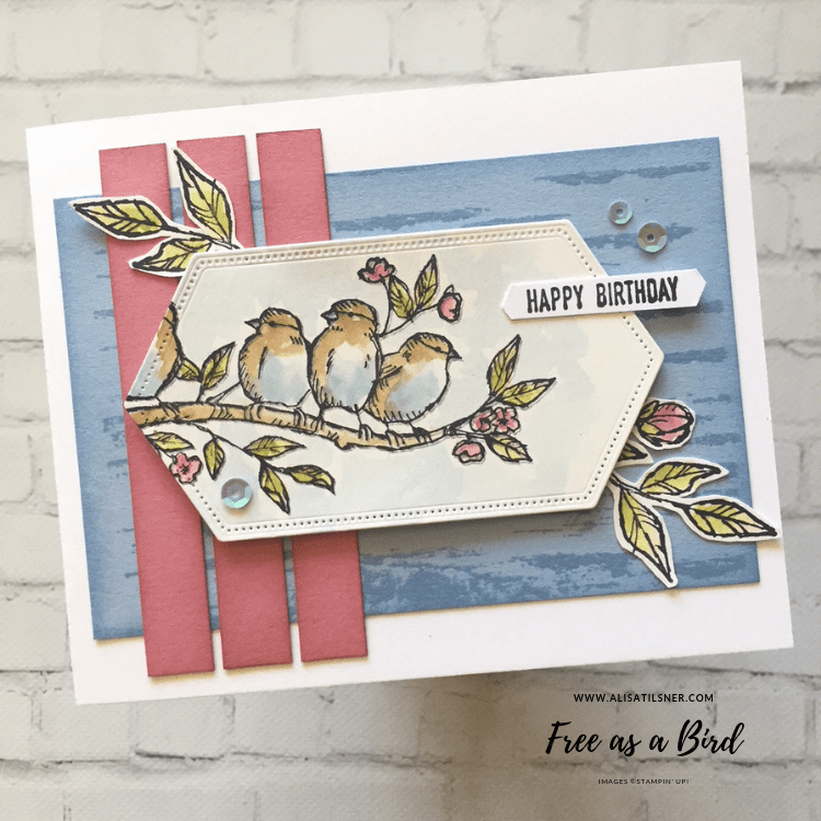 Stampin' Up! Free as a Bird painted on Shimmery Card