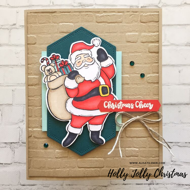 Holly Jolly Christmas Stamp Set by Stampin' Up!. Card created by Alisa Tilsner.  One of two cards for my Monthly Card Kit Club