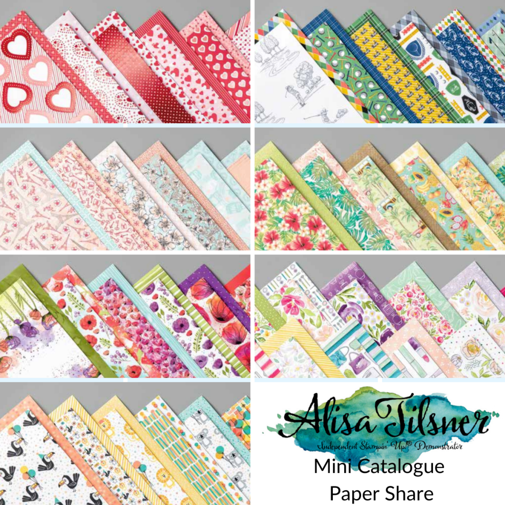 Mini Catalogue Paper Shares. Offered by Alisa Tilsner, Australian Stampin' Up! Demonstrator #cardmaking #designerseriespaper #dspshare #stampinupaustralia