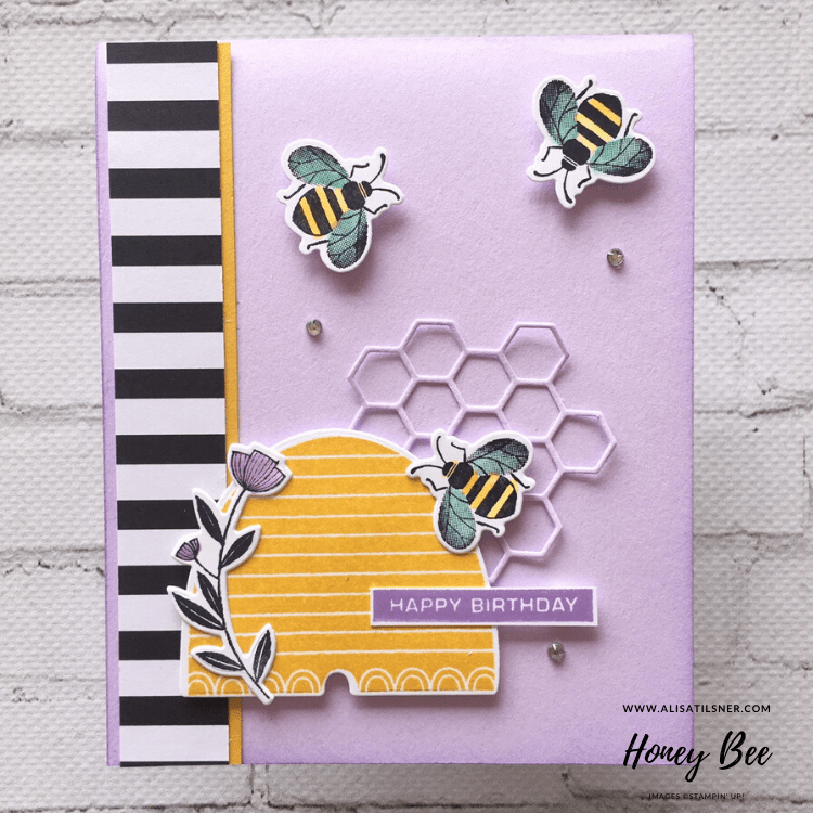 Honey Bee Birthday Cards using the Honey Bee Bundle from the Stampin' Up! January - June Mini Catalogue.  Card created by Alisa Tilsner
