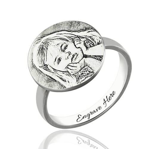 Personalized Photo Engraved Ring Memorial Gift for New Mom