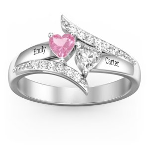 Diagonal Dream Ring With Heart Stones