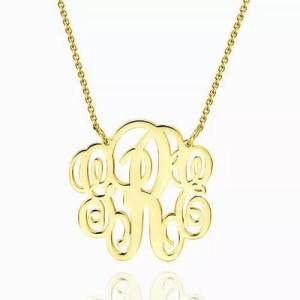Fancy Monogram Necklace Gold Plated