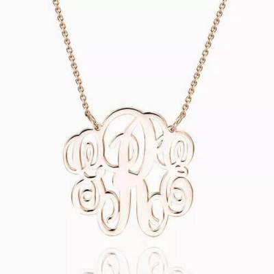 Fancy Monogram Necklace Rose Gold Plated
