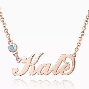 Personalized Birthstone Name Necklace Rose Gold Plated