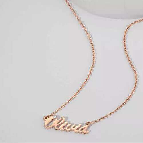 Personalized CZ Name Necklace Rose Gold