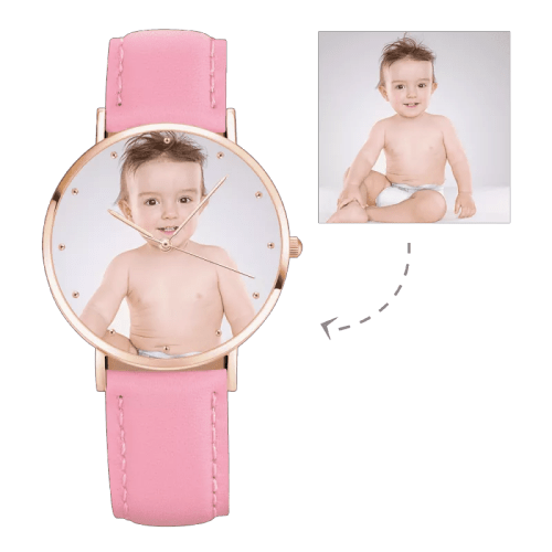 Womens Rose Goldtone Photo Watch Pink Leather Strap