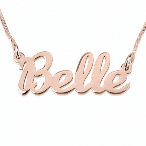 Rose Plated Cursive Name Necklace