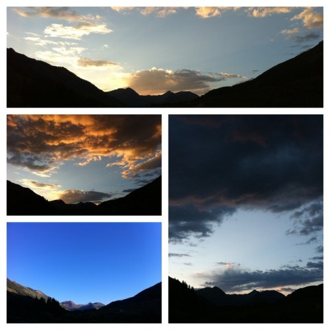 lots of different sky pictures, crested butte, colorado, changing skies