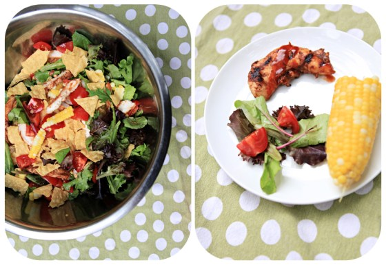 yummy salad, salad for kids, bbq chicken