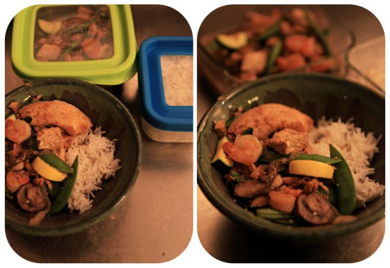 dinner ideas, stir fry, stir fry ingredients, easy stir fry, yummy dinner in a pottery bowl