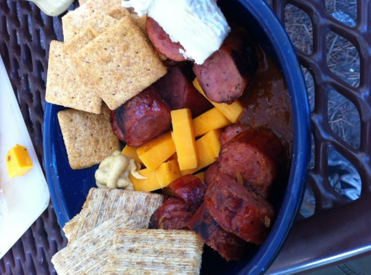 camp meals, summer sausage, cheese and crackers, blue tin bowl