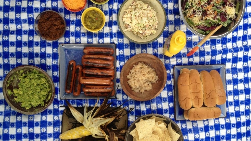 Front Porch Picnic, Hot Dog Party, Petit Jean Grillers, Grilled Corn, Cole Slaw