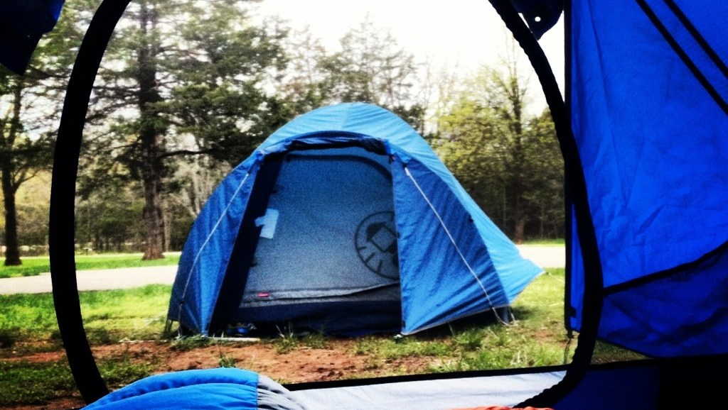 Morning View from tent, Missouri Camping, Missouri State Parks, Spring Camping in Missouri, Chino House Camps