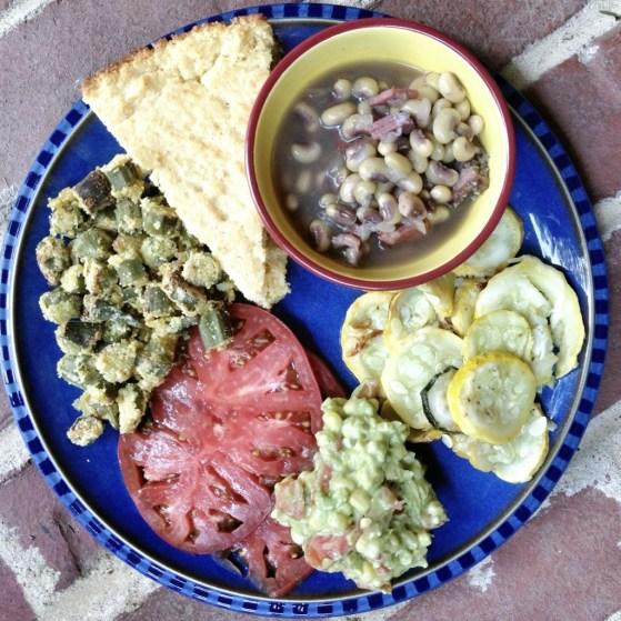 summer squash, summer harvest menu, okra, purple hull peas, tomatoes, cornbread, guacamole