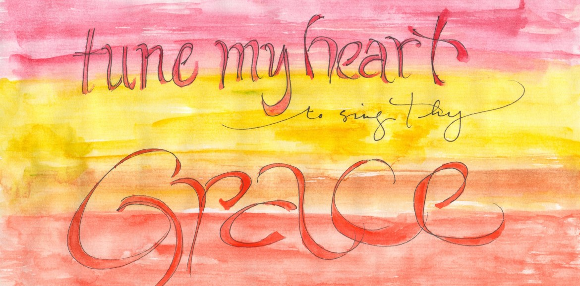 Tune My Heart Poster, Come Thou Fount, Watercolor