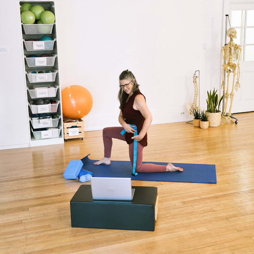 Woman fitness exercises with computer