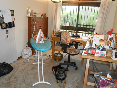 sewing room with dog