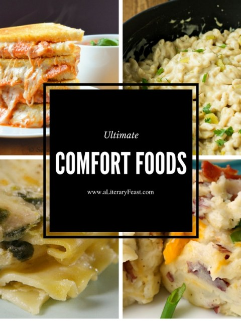A Literary Feast weekly meal plan, ultimate comfort foods, ritz chicken, mac n cheese, tater tot casserole, chicken artichoke lasagna, easy dinners,