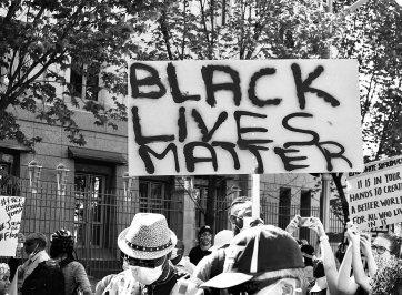 black lives matter sign at protest