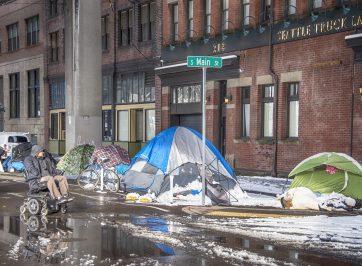 Encampment of Homeless people in Seattle